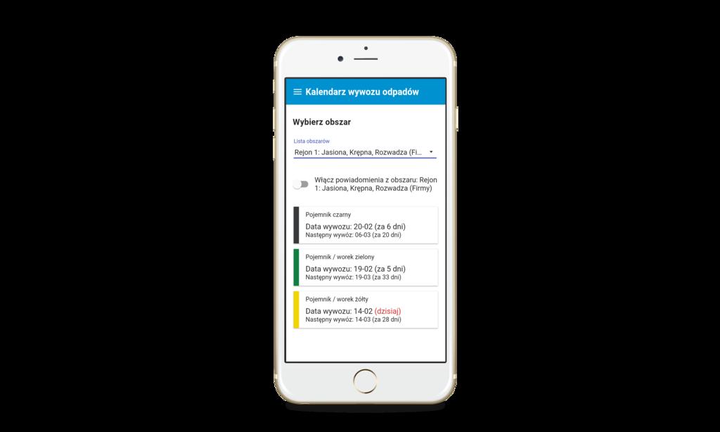 Aplikacja Mobilna - Kalendarz wywozu odpadów